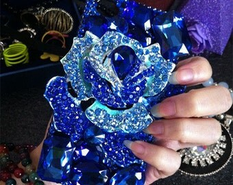Royal Blue 3D Rose Bling Sparkles Luxury Lovely Fashion Sparkles Jwelled Crystals Rhinestones Diamonds Gems Hard Cover Case for Mobile Phone