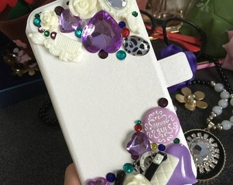 Flip Slot Cards Holder Floral Wallet Leather Bling Luxury Lovely Fashion Crystals Rhinestones Diamonds Gems Hard Cover Case for Mobile Phone
