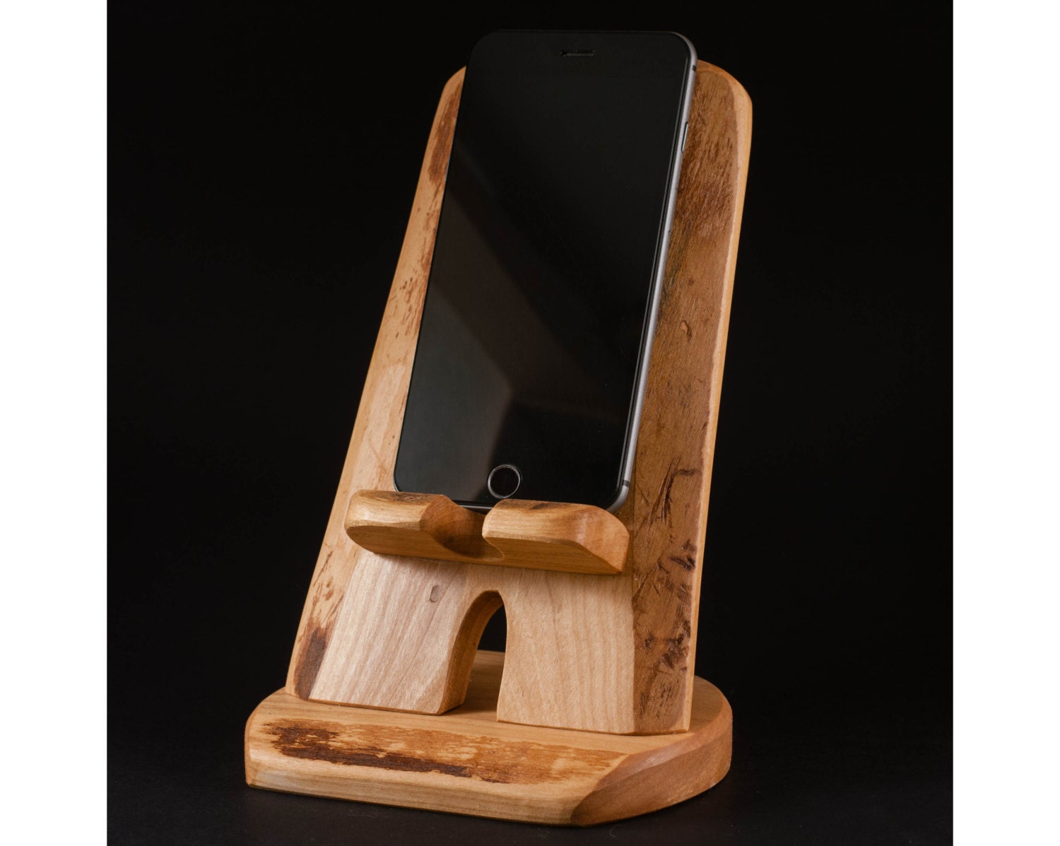 Wooden iphone plus stand charging station