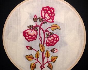 Red flower embroidery hoop