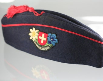 Vintage Garrison Cap San Salvatore embroidery on Navy blue wool Red piping and Red Tussle, Size small, Art Cap