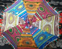 Handwork umbrella with Thread Embroidery,  Patch Work indian parasol ,decorative cotton sun umbrella