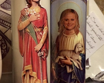 St Tina Fey Amy Poehler Prayer Candles