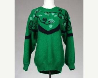 ON SALE Vintage 80s Slouchy Angora/Mohair Sweater Beaded Vines & Flower Dolman M