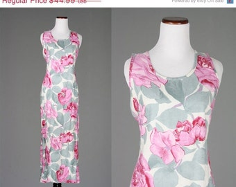 ON SALE Vintage 90s Pink & Gray Floral 100% Rayon USA Maxi Dress Sleeveless Festival S