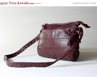 ON SALE Vtg 80s Burgundy Leather Stripe Front Purse Bag