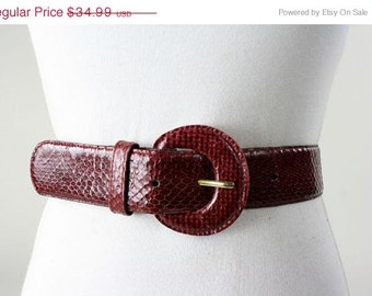 ON SALE Vintage 80s Valerie Barad Red Snakeskin Snake Leather Belt L