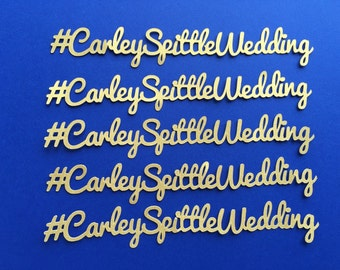 Custom Hashtag Confetti - Wedding Reception, Bridal Shower, Engagement Party, Personalized with your choice of colors