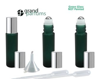 12 10ml Frosted GREEN Glass 10ml Roll-On Bottles PREMIUM Italian 1/3 Oz Rollerball Rollon Perfume Essential Oil Aromatherapy NOT Painted