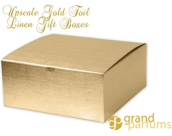 """6 GOLD Gift Boxes, LARGE Linen Foil High Quality Sturdy Metallic 8""""x8""""x3"""" Gift, Holiday, Favor, Wedding, Valentines Day, Candy, Chocolate"""