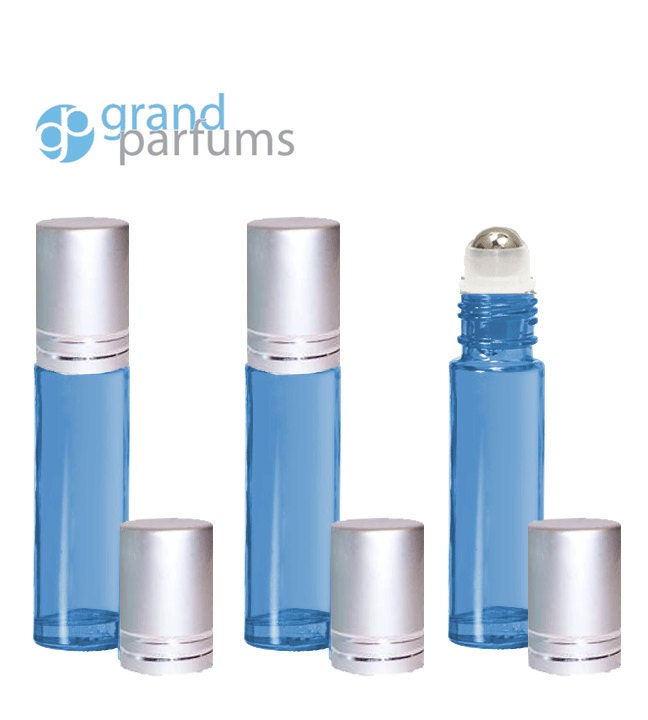 3 Light Blue 10ml Empty Glass Roller Ball Roll On Bottles With