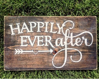 Happily ever after sign | Rustic sign | Wedding gift | Distressed wood sign | Happily ever after wood sign