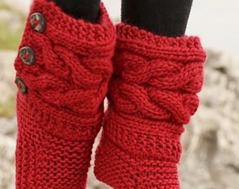 Womens Red Hand Knitted Slipper Boots, Cable Slippers, Hand Made, Custom Designs, All Colors Available