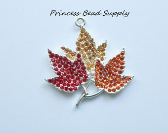 Maple Leaf Rhinestone pendant for Chunky Necklaces, Fall Maple Leaves Pendant, 42mm Fall Maple Leaf  Pendant Chunky Necklace Pendant