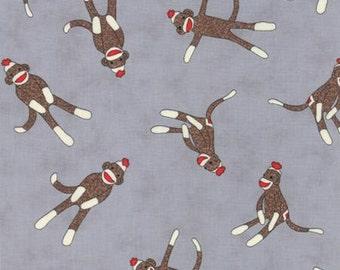 MODA - Monkey Tales - Erin Michael - 15071 40 - Funkey Monkey - Grey - Children Novelty - Sock Monkey  - Monkeys - One More Yard