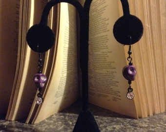 Purple Skull Earrings
