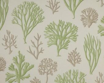 COWTAN & TOUT Jane Churchill TROPICAL Corals Oceana Fabric 10 Yards Green Cream