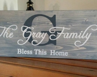 Personalized family name sign, custom name sign, rustic initial sign, wedding/anniversary, wood family established sign, bless this home.
