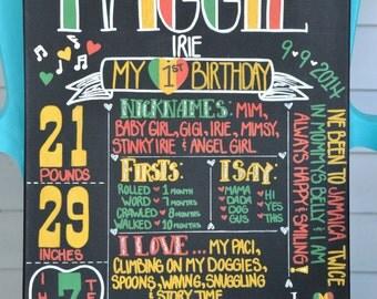 One Love Custom First Birthday Canvas, Rasta First Birthday