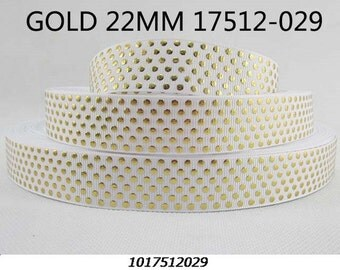 7/8 inch Gold polka dots on white - Printed Grosgrain Ribbon for Hair Bow