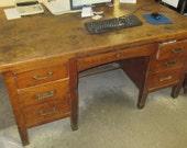 5' Oak Wood Desk School Teacher Office Vintage Mid Century Factory Cart Table c
