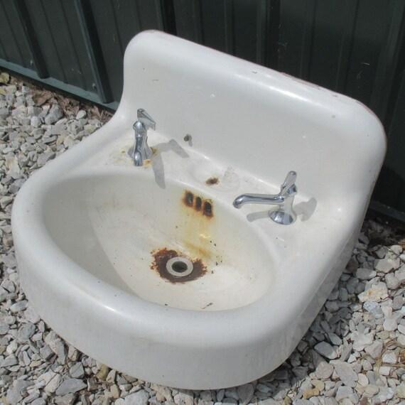 Porcelain Kitchen: Antique Porcelain Bathroom Lavatory Kitchen Sink Cast Iron