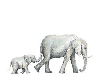 Elephant painting - elephants - baby elephant - safari animals - animal print - baby room print - baby - watercolor print - Baby Room