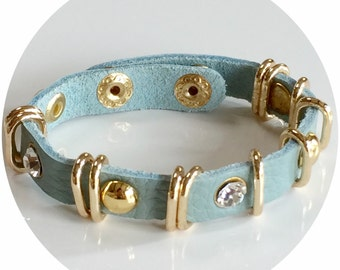 Leather Wrap Bracelet with Gold Metal