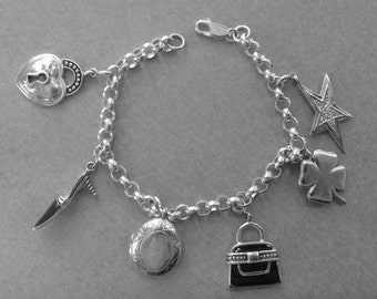 Pretty Sterling Silver Charm Bracelet with 6 Sterling Charms