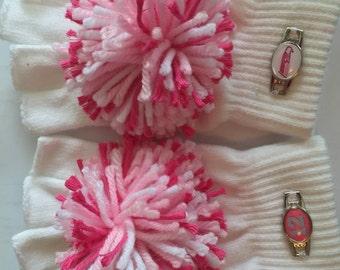 Pom Handz Seahawk inspired  pink fingerless  Gloves, Pom Pom Gloves, Pompom mittens, pink knit pom pom gloves, lady Seahawk gloves