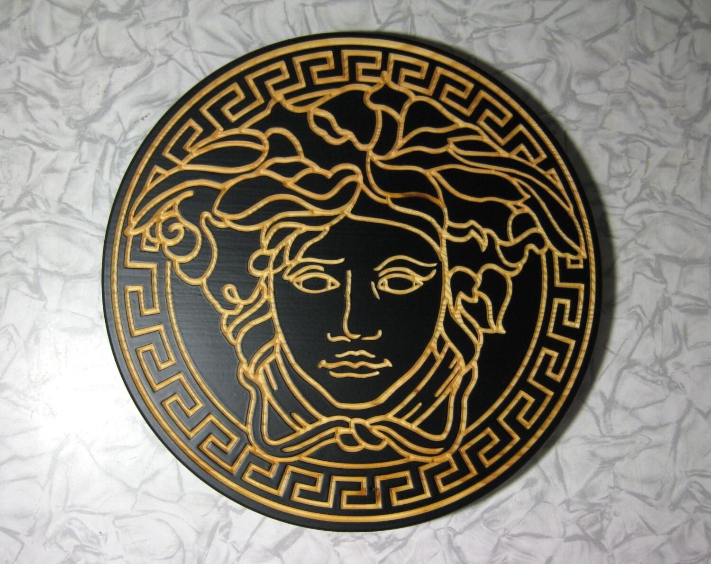 black wooden medallion medusa gorgon wall plaque greek key. Black Bedroom Furniture Sets. Home Design Ideas