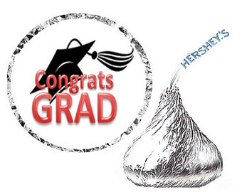 Red Graduatoin Party Favor Hershey's Kisses Stickers / Labels -216ct Red