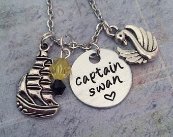 Captain Swan Necklace - Fairytale Jewelry - Once Upon A Time Jewelry - Fangirl Jewelry - Fandom Jewelry