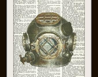 Antique Diving Helmet no. 2--Vintage Dictionary Art Print---Fits 8x10 Mat or Frame