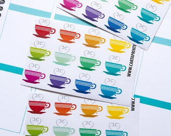 36 tea stickers, coffee sticker, cup sticker, drink sticker, planner stickers, french sticker eclp filofax happy planner kikkik