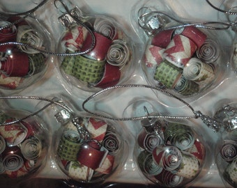 12 count mini glass paper filled ornaments