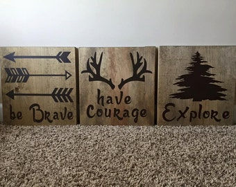 "Handmade 12"" x 12"" Wooden ""Be Brave"" Three Sign Set"