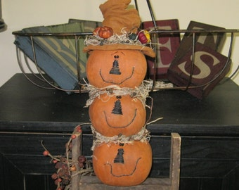 Pumpkins - Stacked Pumpkins - Fall Decoration - Autumn - Shelf Sitter - The Jacks - Holiday