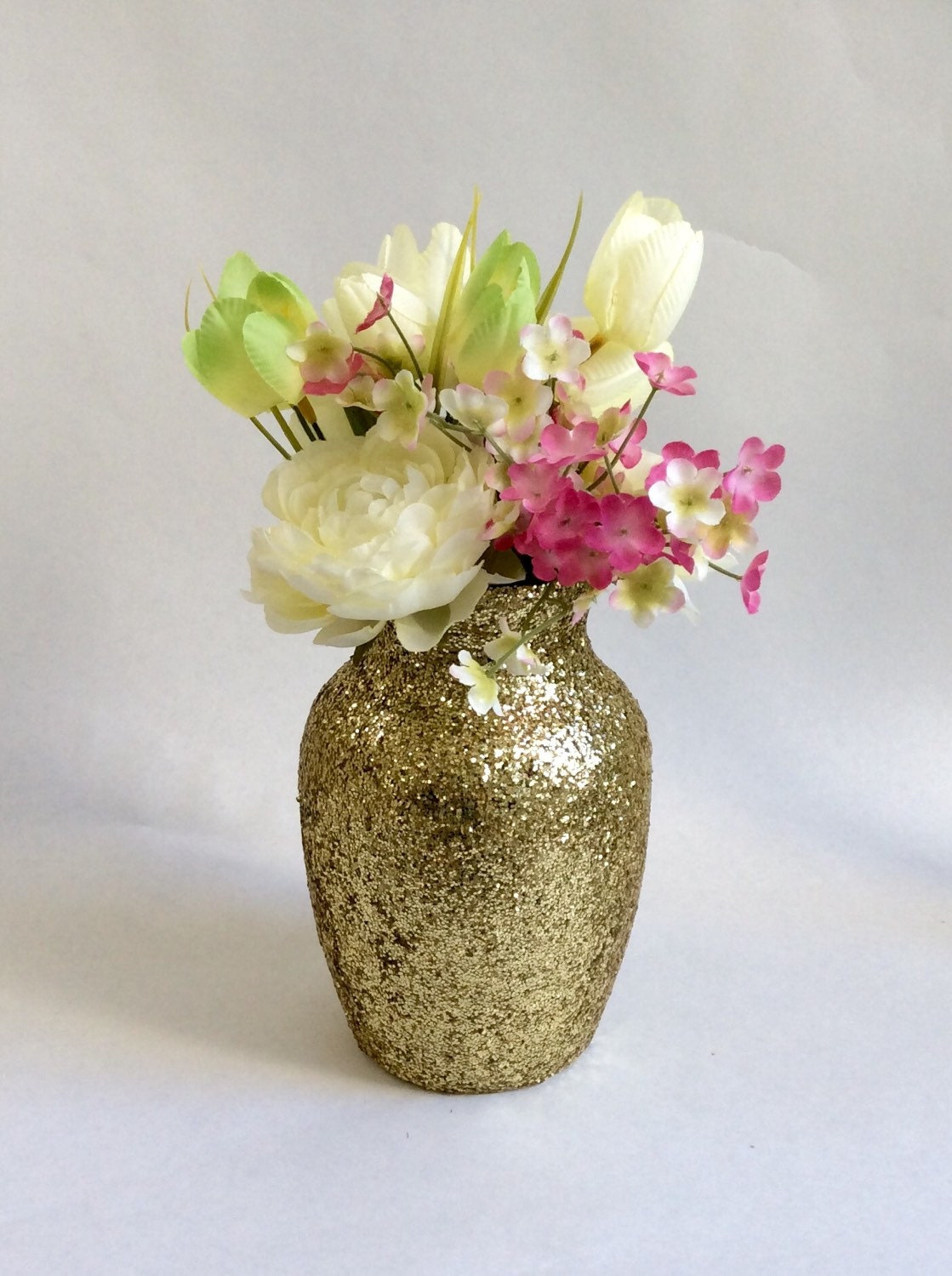 Gold glitter hurricane vase wedding centerpiece by lenoreloves