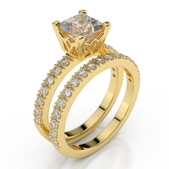Princess Cut Wedding Ring Set 14K Yellow Gold by Brillianteers
