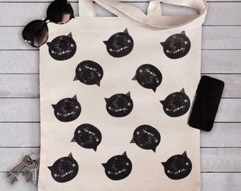 All Over Cat Printed Tote Bag, Cat Print Shopping - Messenger Bag