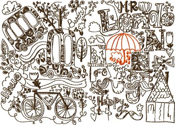 Rainy london machine embroidery design sizes inch