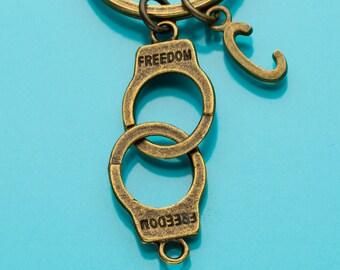 Handcuffs Keychain, Bronze Handcuffs Key Ring, Hand Cuffs, Initial Keychain, Personalized Keychain, Custom Keychain, Charm Keychain, 561