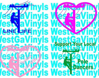Lineman Vinyl Decal / Sticker *Available in 24 Colors* Choose your color AND design