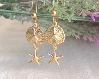 14K Gold Filled Sand Dollar Earring, Starfish Earring, Gold Earring, Everyday Earring, Beach Earring, Bridesmaid Earring, Simple Earring