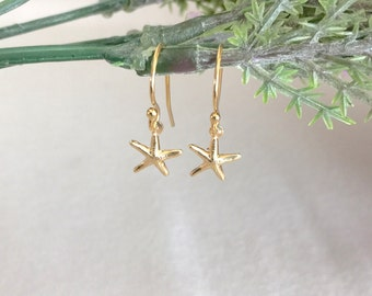 Starfish Earring, 14K Gold Earring, Delicate Earring, Simple Earring, Child Earring, Bridesmaid Earring, Minimalist, Beach Earring
