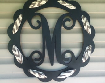 Scalloped Circle Monogrammed Door Hanger. Ribbon not included.