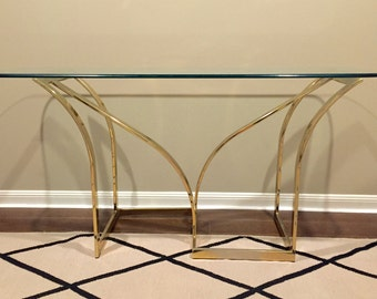 vintage 1970s dia style brass and glass console table milo baughman style gold flat