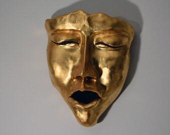 23kt Gold Leafed Ceramic Wall Mask