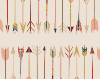 Arrow Fabric, Modern Cotton Fabric by the Yard, Fletching Chant, Wild and Free, Art Gallery, Soft Nuetral Tones, Pink, Cream, Coral